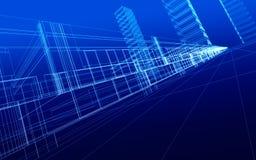 Wireframe des immeubles de bureaux illustration stock