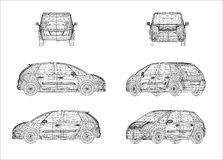 Wireframe design av bilen Arkivfoton