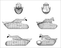 Wireframe design of boat Royalty Free Stock Images