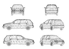 Wireframe design of car Royalty Free Stock Image