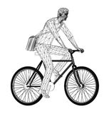 Wireframe design of cyclist with bag Stock Image