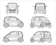 Wireframe design of mini car Stock Image