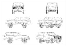 Wireframe design of offroad jeep Stock Images