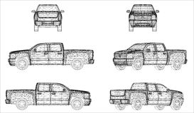Wireframe design of pick-up Royalty Free Stock Photos