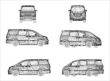 Wireframe design of Van car Royalty Free Stock Images