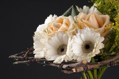 Wireframe designer floristic bouquet. Wireframe designer floristic bouquet with white  gerbera daisies, roses in soft pastel shades Stock Photo