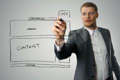 Wireframe di sviluppo del sito Web del disegno del progettista fotografie stock libere da diritti