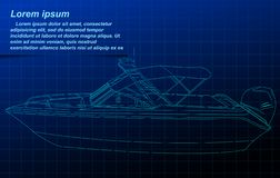 Wireframe do barco a motor ilustração stock