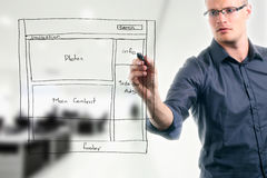 Wireframe do desenvolvimento do Web site Fotos de Stock Royalty Free