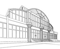 Wireframe do prédio de escritórios Imagens de Stock