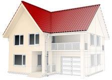 Wireframe do projeto da casa, desenho arquitetónico e Fotografia de Stock Royalty Free