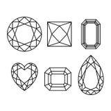 Wireframe dos diamantes no fundo branco Foto de Stock Royalty Free