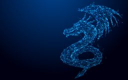 Wireframe dragon mesh from a starry on blue background Royalty Free Stock Image