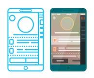 Wireframe en ontworpen app Stock Afbeelding