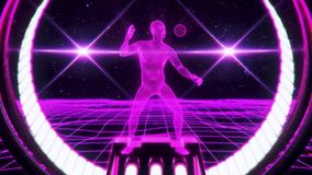 Wireframe för fuchsia 3D man i för öglasrörelse för cyberspace VJ bakgrund stock illustrationer