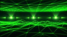 Wireframe för gräsplan 3D landskap i öglasbakgrund för cyberspace VJ vektor illustrationer
