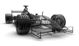 Wireframe formula 1 car. A wireframe formula 1 car on a white background Stock Photography