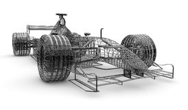 Wireframe formula 1 car Royalty Free Stock Photo