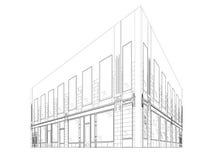 Wireframe-Gebäude Lizenzfreies Stockfoto