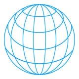 Wireframe globe. Illustration of wireframe grid globe isolated on white background vector illustration