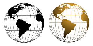 Wireframe Globe Set. Two versions of a illustration of a wireframe style globe in black and gold tones royalty free illustration