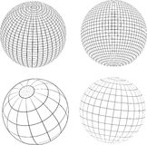 Wireframe globes. Various designs of wireframe globes Stock Photography