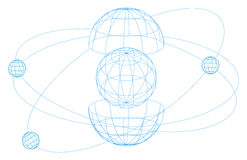 Wireframe globes (vector) Stock Images