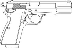 Wireframe gun pistol Royalty Free Stock Photos