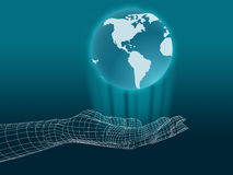Wireframe hand with globe stock illustration