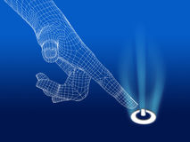 Wireframe hand with power button stock illustration