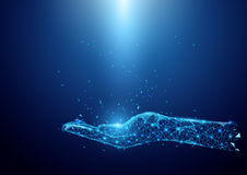 Wireframe-Handzeichen von einem sternenklaren auf blauem Hintergrund Lizenzfreie Stockfotos