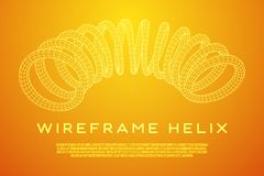 Wireframe helix spring. Wireframe low poly mesh tension helix spring. Vector illustration Stock Photography