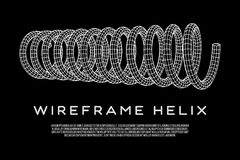 Wireframe helix spring. Wireframe low poly mesh tension helix spring. Vector illustration Royalty Free Stock Photography
