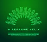 Wireframe helix spring. Wireframe low poly mesh tension helix spring. Vector illustration Royalty Free Stock Photo