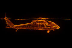 Wireframe Hologram Helicopter in Motion. Nice 3D Rendering Stock Image