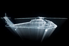 Wireframe Hologram Helicopter in Motion. Nice 3D Rendering Stock Photography
