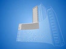 Wireframe hospital building Stock Images