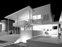 Wireframe House Royalty Free Stock Photo
