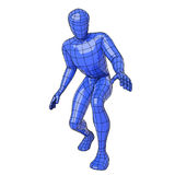 Wireframe human figure crouched down Royalty Free Stock Image