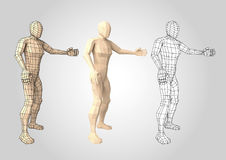 Wireframe human figure featuring something or somebody. Human figure featuring or presenting something. Wireframe. Lowpoly. Wire mesh. Vector illustration Royalty Free Stock Image