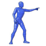 Wireframe human figure pointing something side view Stock Image