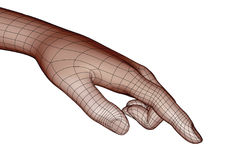 Wireframe human hand pointing or touching something. Wireframe human hand in brown tones pointing or touching something with index finger. Modern science Royalty Free Stock Photos