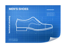 Wireframe Illustration with shoe drawing on the blueprint Stock Image