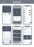 Wireframe kit for mobile phone. Mobile App UI, UX design. New OS Profile. Walkthrough, welcome, timeline, feed and menu screens royalty free illustration