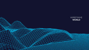 Wireframe krajobrazu tło Futurystyczny krajobraz z kreskową siatką Niski Poli- 3D Wireframe Kartografować Sieci Cyber Fotografia Royalty Free