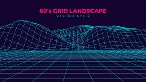 Wireframe kształtuje teren, retro 80s projekta element, neonowi kolory, obraz stock
