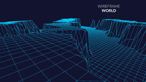 Wireframe Landscape mountain  Background. Futuristic Landscape with line Grid. Low Poly 3D Wireframe Mapping. Network Royalty Free Stock Images