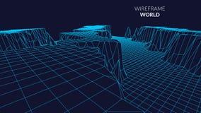 Wireframe-Landschaftsberghintergrund Futuristische Landschaft mit Linie Gitter Niedriges Poly-3D Wireframe Diagramm netz Lizenzfreie Stockbilder