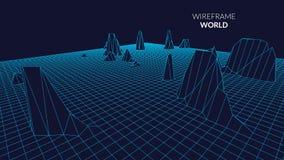 Wireframe-Landschaftshintergrund Futuristische Landschaft mit Linie Gitter Niedriges Poly-3D Wireframe Diagramm Netz Cyber Stockbild
