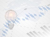 Wireframe lightbulb on abstract financial chart with uptrend line graph. Candle stick graph of investment trading on world map. Wireframe lightbulb on abstract Stock Image